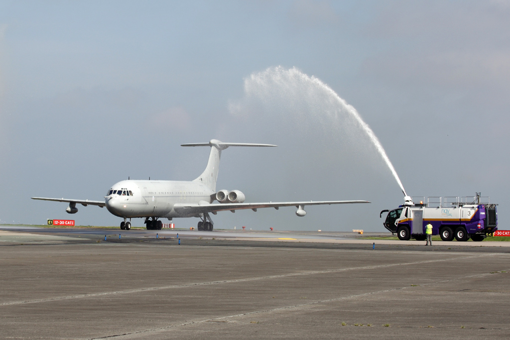 ZA148 was greeted by a water-cannon salute on arrival at her new home - Courtesy Classic Air Force - www.classicairforce.com